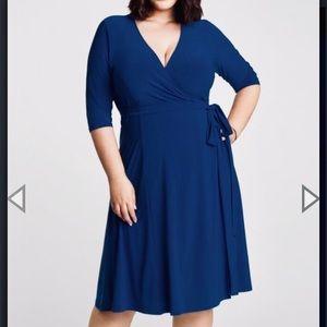 1X (14/16) Kiyonna Blue Essential Wrap Dress